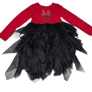Disney Minnie Mouse Dress size 5T Tulle red black